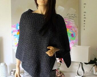 PONCHO Wool / Alpaka grey melange