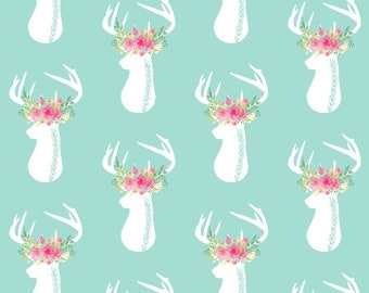 Mint Deer Nursery Fabric by the Yard Cotton Baby Girl Fabric Organic Cotton Minky Jersey Knit Childrens Fabric 7196233