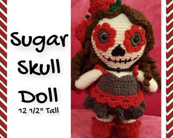 Weebee Sugar Skull Doll, crocheted baby, White, Red & Charcoal Gray. Day of the Dead