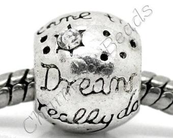 "1 Pearl charm in metal and white rhinestone ""Dreams really do come true"" compatible pandora chamilia style"