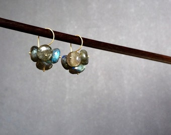 Cluster Earrings of Faceted, Iridescent Labradorite Rondelles with 24kt Gold Vermeil Ear Wire