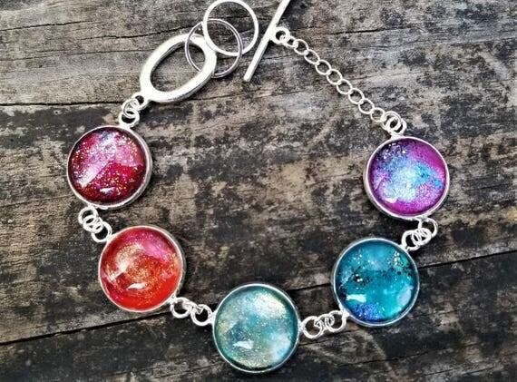 LIMITED EDITION: Nessa's Rainbow Nebula Painted Glass Bracelet (Version 2)