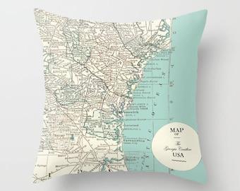 Georgia Coast Map pillow - Georgia Shore, Eastern Seaboard, tybee Island, Savannah, Cumberland, Brunswick, travel decor, coastal
