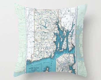 Rhode Island Map Throw Pillow -  Rhode Island State - retro - Eastern Coast decor, travel, United States RI Pride