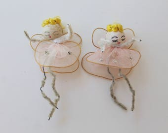 Vintage Pair of Small Nylon Wire Spun Cotton and Pipe Cleaner Christmas Angel Gift Tags, Vintage Spun Cotton Angel Ornament
