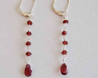 Garnet drop earrings with Sterling