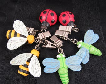 Whimsical Tablecloth Clips Bugs Tablecloth Holders Ladybugs Bees Dragonflies Set of 6
