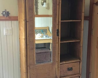 Edwardian English Bamboo and Grass Cloth Armoire
