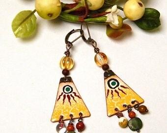 NICE SUN - Enamels on copper, glass, brass - stud earring, rustic earrings