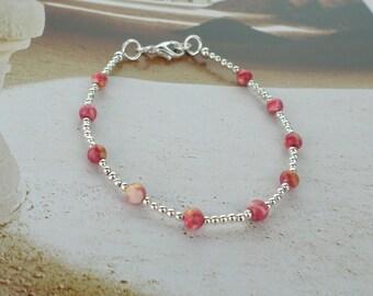 silver stacking bracelet, coral bracelet, salmon pink bracelet, silver bracelet, delicate bracelet, pink bracelet, dainty bracelet