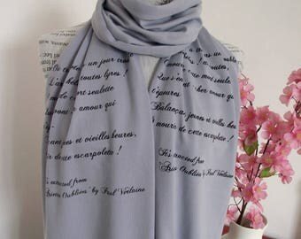 PAUL VERLAIN Quote Scarf Jersey Scarf - Ariettes Oubliées - Hand Printed Long Scarf Text Scarf Literary Book Lovers Scarf