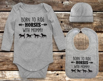 Born to Ride Horses With Mommy 3-piece Infant Layette Set, Including Bodysuit, Beanie Hat, and Bib