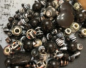 A bag full of Black Beads, Black Beads, Lampwork beads, Jewelry supplies, Crafting supplies, 5x3 bag of beads