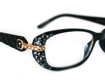 Crystal Reading Glasses w SWAROVSKI Bling Black, Tortoiseshell, Black / Square Readers +1, +1.25, +1.5, 1.75, +2, +2.25, +2.5, +2.75 +3.00