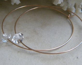 Rose Gold Filled Herkimer Diamond Hoops, Herkimer Quartz Stones, Semi Precious Stones, Rose Gold Hoop Earrings, Women's Earrings,  Jewelry