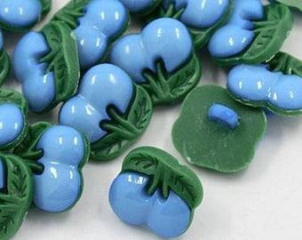 LOT 8 blue green cherry buttons 12mm fruit