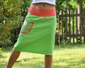 Kord MIDI skirt of bright green green salmon size 36 / 38