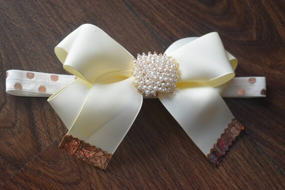 Ivory and Gold grosgrain bow with rhinestone for Baby, Toddler, Girl - Headband, Hairband, Barrette for Parties, Birthday, Christening