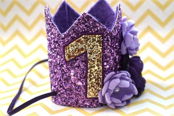 1st birthday purple crown, custom birthday hat, birthday photo prop, baby birthday outfit,purple and gold crown, Princess crown