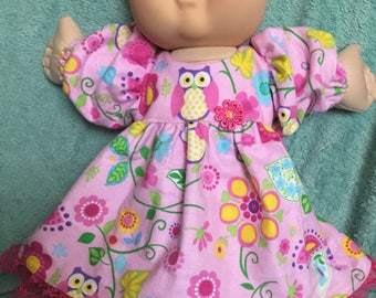 """Owls flannel nightgown fits 14"""" CPK--CLOTHES ONLY"""