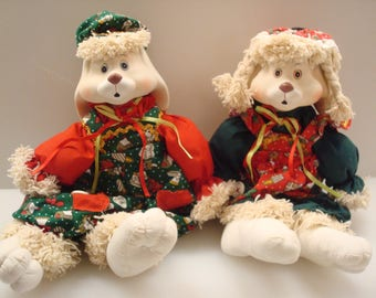 House Of Lloyd Christmas Around the World Hip and Hop Porcelain Bunny Set - Shelf Sitting Decor - Excellent Condition!!