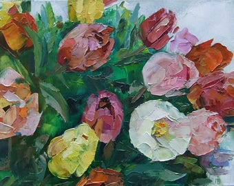Picture Tulips-Art Original Oil Painting