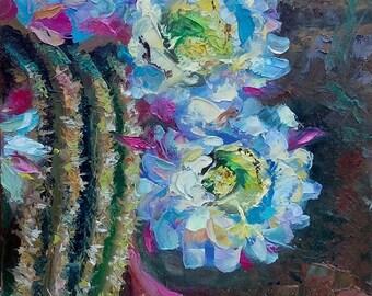 Picture Floral Fine Art Original Oil Painting- Cacti Flowers  Home Decor