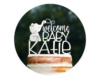 Welcome Baby Elephant Cake Topper, Welcome Baby Name Shower Sign, Baby Shower Decorations, Baby Sprinkle Decor, Gender Reveal Topper (T409)