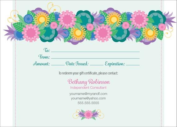 Rodan Fields Gift Certificate Floral Printable File