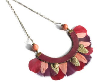 Bohemian feather necklace chic red, bordeaux, coral