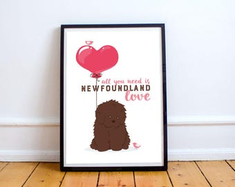 Newfoundland newfoundland dog • all you need is love poster (brown)