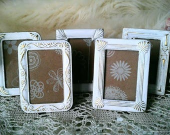 "Wedding Picture Frames, Shabby Chic, Set of 5, 2"" x 3"" Mini Frames Made to Order"