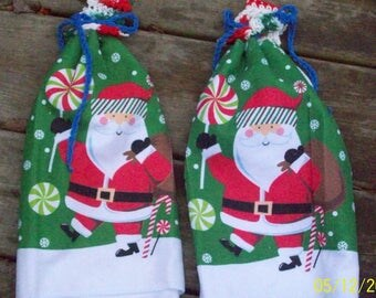 Santa Towels with Hanging Tabs ~ Set of 2.