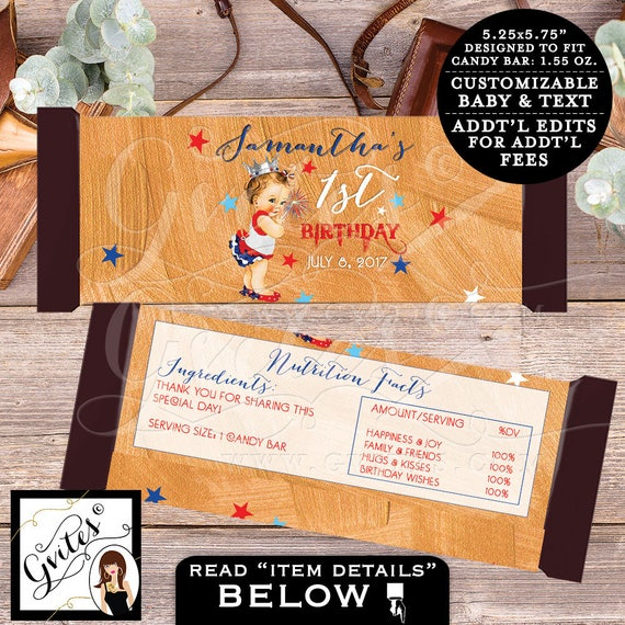 "Candy Wrappers First Birthday, chocolate wrapper, candy bar template, 4th of july baby girl 1st, PRINTABLE {2 Per/Sheet 5.25 x 5.75""}"