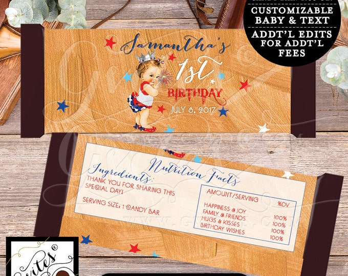 "Fourth of July First Birthday Candy Wrappers First Birthday, chocolate wrapper, candy bar template, PRINTABLE {2 Per/Sheet 5.25 x 5.75""}"
