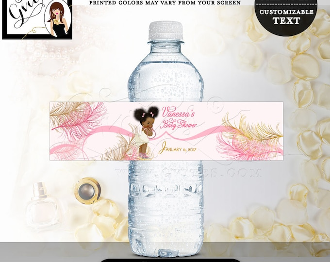 "Water bottle labels, baby shower, girl, pink and gold party decorations, stickers, favors gifts. 8x2""/5 Per Sheet. Digital File! #RBNAPU004"