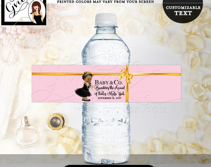 Pink and Gold Water Bottle Labels, Baby and Co Water Label, princess baby shower, printable stickers party favors, DIGITAL FILE ONLY! 8x2""