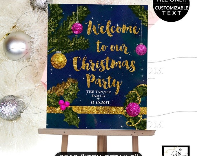 Christmas Welcome Sign, holiday party printable signage, welcome, to our family christmas party signs, diy, digital file only!