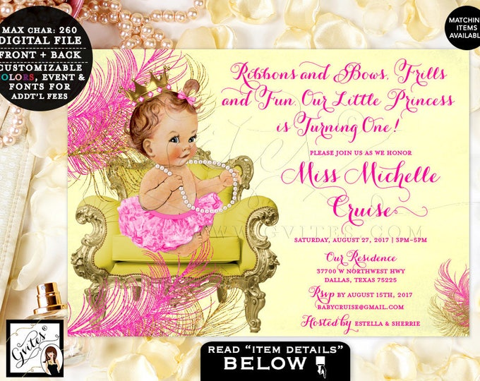 "Yellow and Pink First Birthday Invitation, hot pink, fuchsia gold invites, baby vintage, princess invitation, 7x5"" DIGITAL  #BSC020CYP"