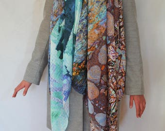 FeFiFo Pattern Mix, Wrap Around, Extra Large Scarf or hijab, blues, lilacs, Oranges and turquoise, Silk/Modal, Digital Printed Fabric,