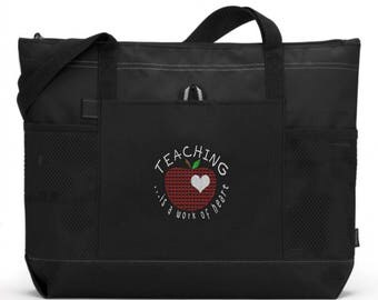 Teacher Tote Bag/ Teacher Appreciation Gift/ Teacher Gift/ Embroidered Teaching Is A Work Of Heart with Big Apple Teacher Tote Bag