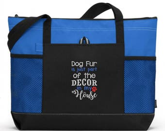 Dog Tote Bag/ Embroidered Dog Fur Is Part Of The Decor In My House Dog Tote Bag/ Rescue Mom Gift/ Embroidered Rescue Dog/ Rescue Dog Tote