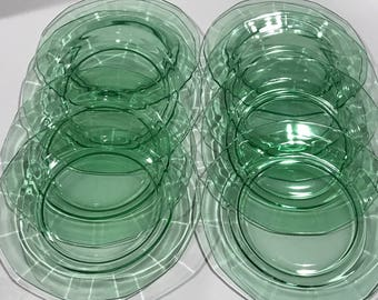 Fostoria Glass Plates, Set of Six Plates, Green Elegant Glassware, Antique Glassware, Vintage Plates, Antique Plates, Green Glass Plates