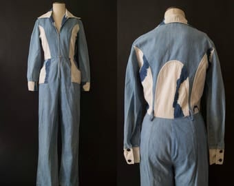 vintage 1970s jumpsuit / 70s denim jumpsuit / small