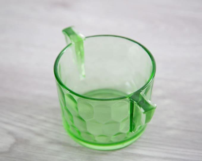 Vaseline Glass Dessert Bowl / Antique Uranium Ice Cream Depression Glass Collectible Serving Cup / Vintage That Glows Under Blacklight