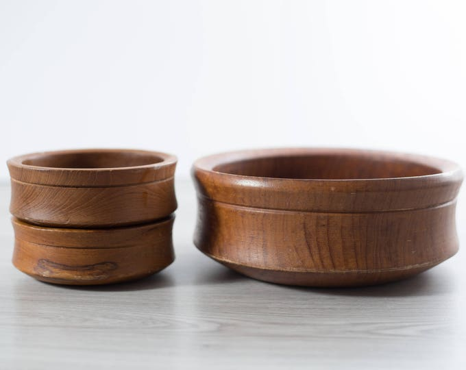 Teak Salad Bowl Set / Vintage Solid Exotic Wood Food Safe Serving Appetizer Dish Platter / Handcrafted Hardwood / Danish Modern Nordic Decor