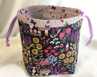 Gnome SockSack Sock Knitting Bag Small Knitting Project Bag