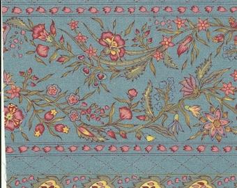 Dutch Chintz Border Fabric - Provence Blue - half (1/2) yard