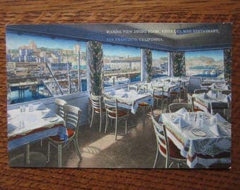 Vintage Linen Postcard, Vista Del Mar Restaurant, San Francisco History,California,Fisherman's Wharf,Retro Vacations,Tourism,Souvenir,Kitsch