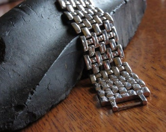 Vintage Napier Silver Tone Wide Chain Bracelet, Thick, Link, Wide Silver Chain Bracelet, Goth/Gothic/Punk Jewelry, 1980's Statement Bracelet